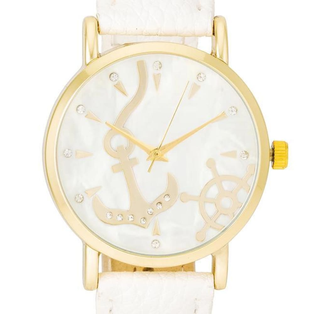 Watches $26.00 Nautical White Leather Watch