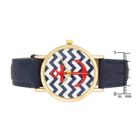 Image of Watches $27.00 Navy Nautical Leather Watch