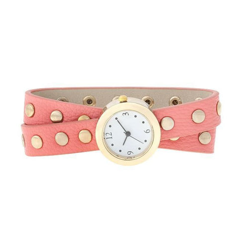 Image of Watches $29.00 Pink Round Studded Wrap Watch