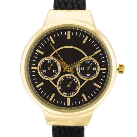 Image of Watches $28.00 Reyna Gold Black Leather Cuff Watch