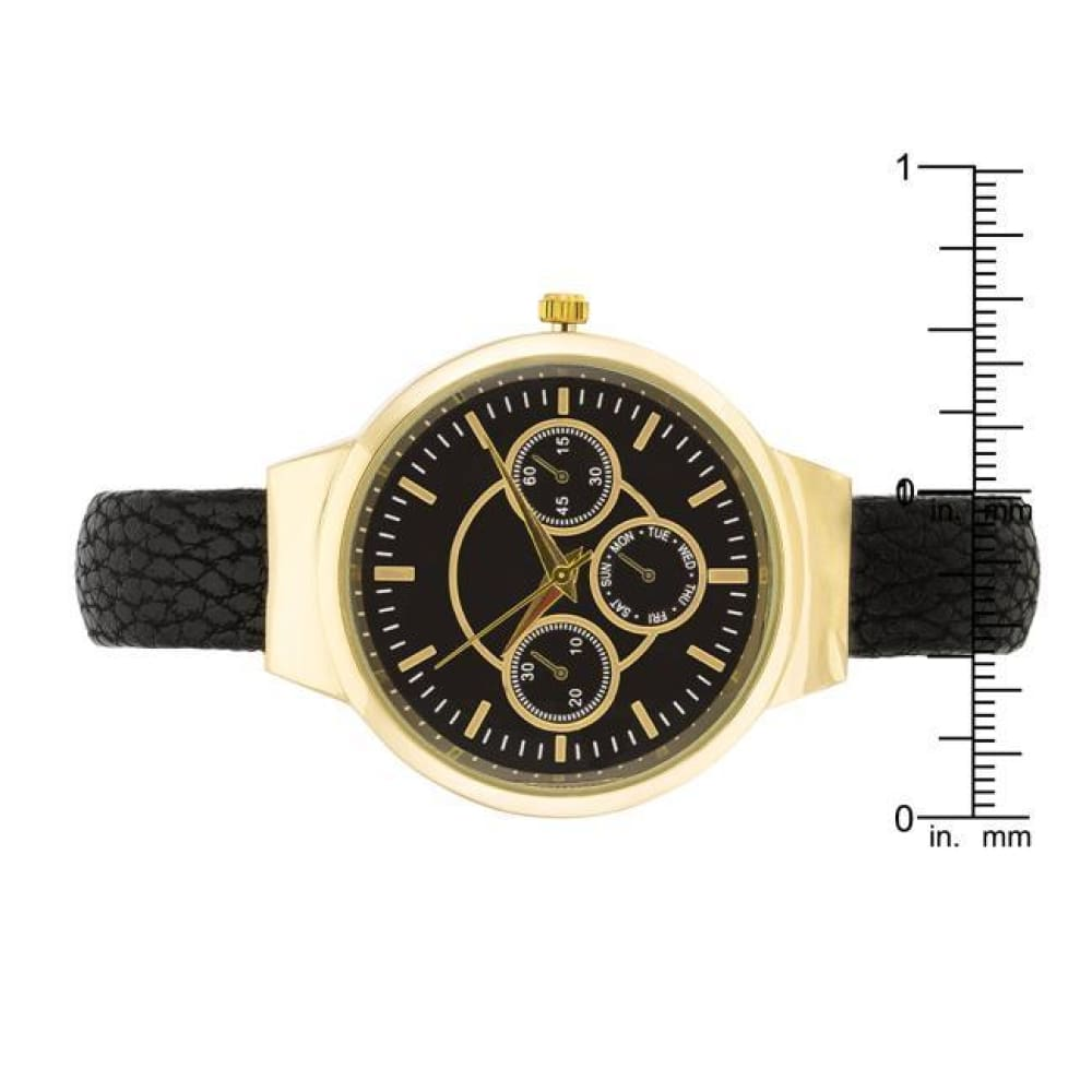 Watches $28.00 Reyna Gold Black Leather Cuff Watch