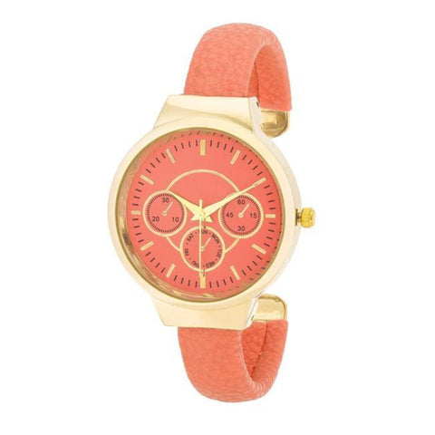 Watches $28.00 Reyna Gold Coral Leather Cuff Watch