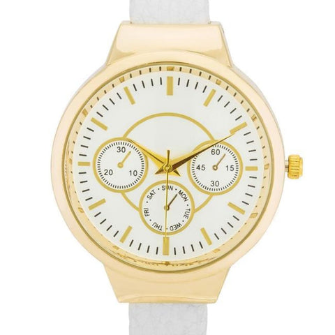 Watches $28.00 Reyna Gold White Leather Cuff Watch