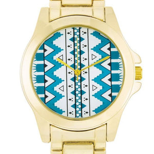 Tribal Blue Pattern Gold Watch