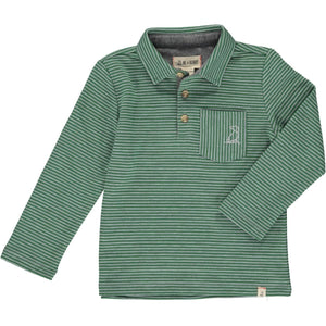 Me & Henry thin green and grey stripe polo