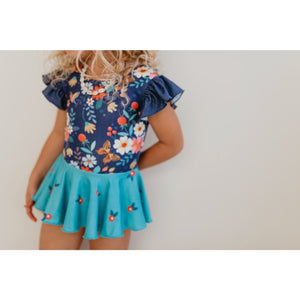 Leo's Luvs Navy Butterfly Floral Skirted Leotard