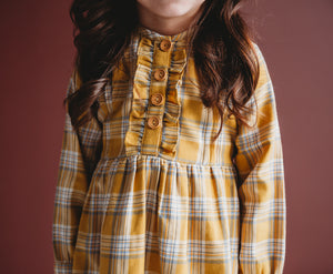 Ren & Rouge Mustard Flannel Plaid Dress