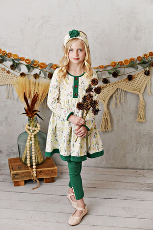 Serendipity Woodland Pine Button Front Dress With Legging
