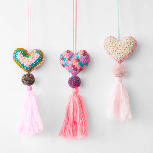 Heart Pom Pom Felt Ornaments