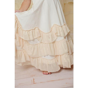 Oopsie Daisy Beige Twirl Maxi Dress