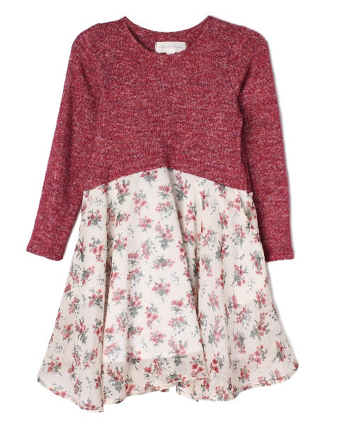 Mabel & Honey Tiny Floral Burgundy Dress