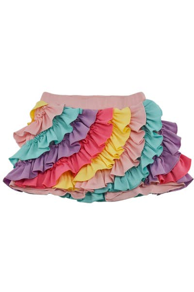 Lemon Loves Lime Pastel Rainbow Ruffle Short