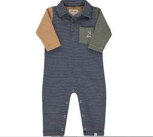 Me & Henry Navy Multi Stripe Polo Romper