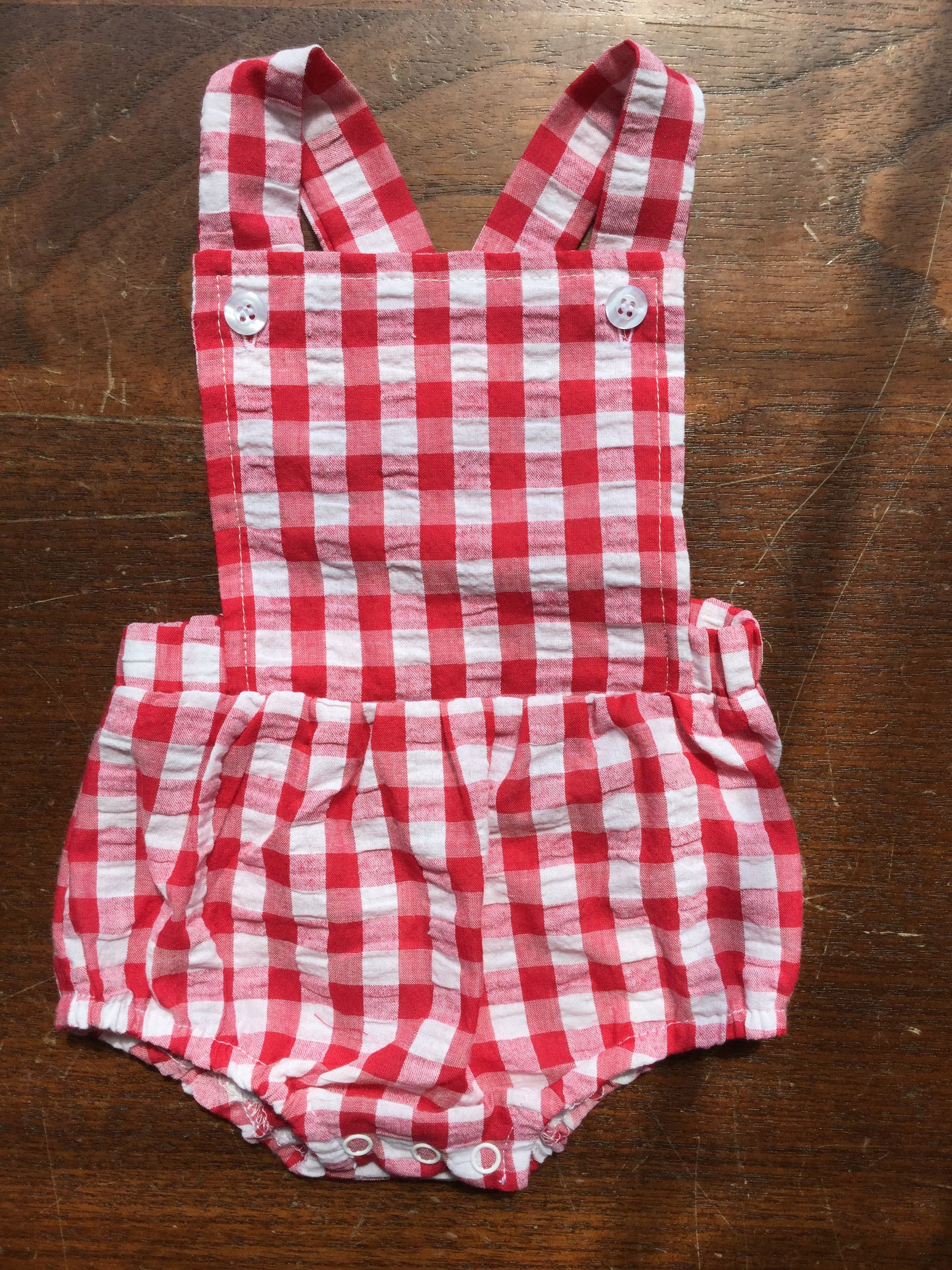 Three Sisters Baby Red Gingham Boy Bubble