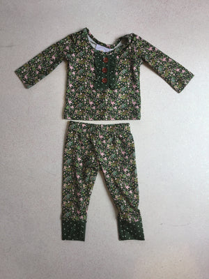 Swoon Baby Newborn Green Floral Lounge Set