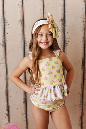 Swoon Baby Yellow Floral 2 piece Swimsuit