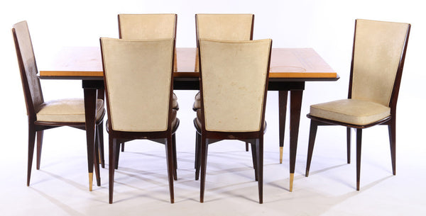 Luxe Dining Table And Six Chairs Set - Art Deco Antiques  - 1
