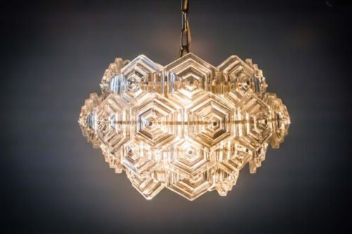 Beautiful Mid-Century Modernist Crystal Chandelier - Art Deco Antiques  - 7