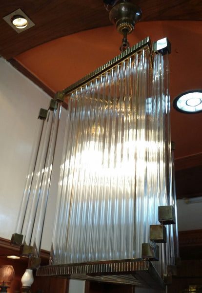 Luxe Brass And Glass Tubes Prism French Art Deco Chandelier