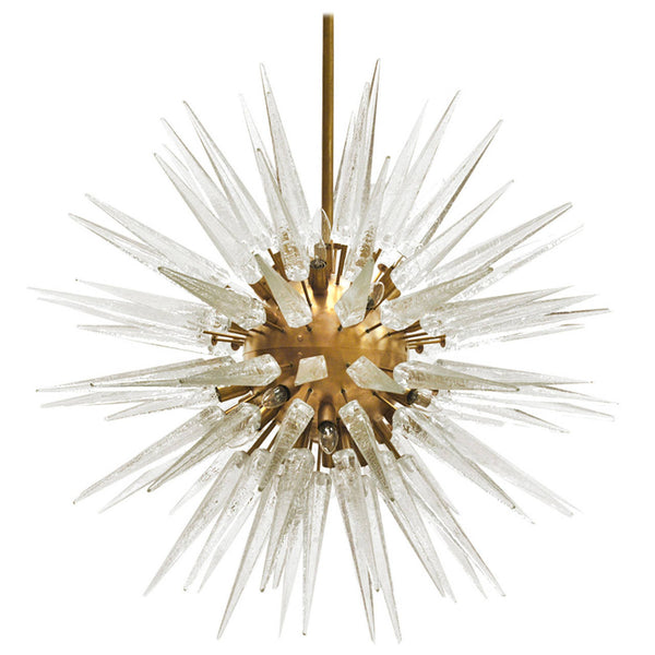 Magnificent Mid-Century Modernist Sputnik Chandelier With Murano Glass Spikes - Art Deco Antiques  - 2