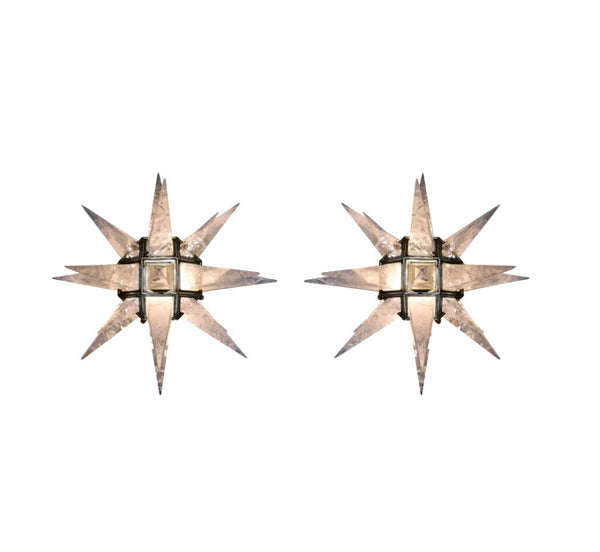 Pair of Quartz Star Sconces With Nickel Plated Frame - Art Deco Antiques  - 1