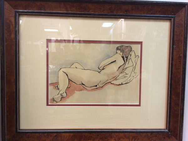 Captivating Mid-Century Modernist Nude Watercolor Painting By Sawyer - Art Deco Antiques  - 1