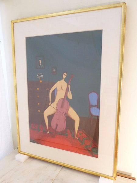 Stunning Mid-Century Modernist Abstract Lithograph Painting By Branko Bahunek - Art Deco Antiques  - 2