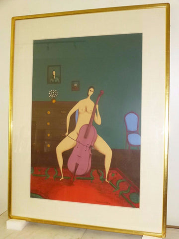Stunning Mid-Century Modernist Abstract Lithograph Painting By Branko Bahunek - Art Deco Antiques  - 1
