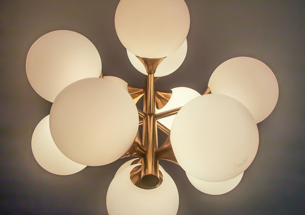 Wonderful Mid-Century Modernist 1960's Brass Sputnik Chandelier - Art Deco Antiques  - 9