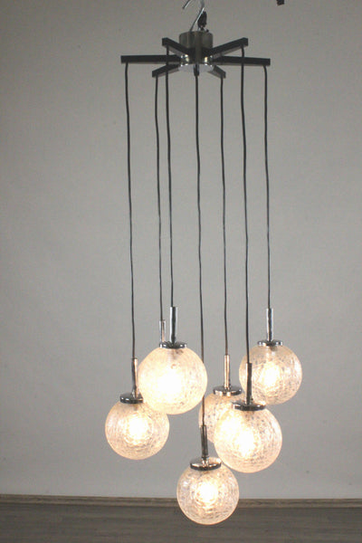 Stunning Mid-Century Modernist Glass Ball Pendant / Chandelier By Doria - Art Deco Antiques  - 7