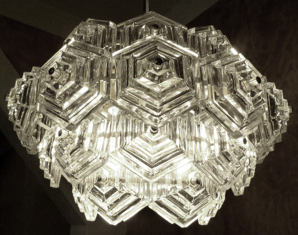 Beautiful Mid-Century Modernist Crystal Chandelier - Art Deco Antiques  - 6