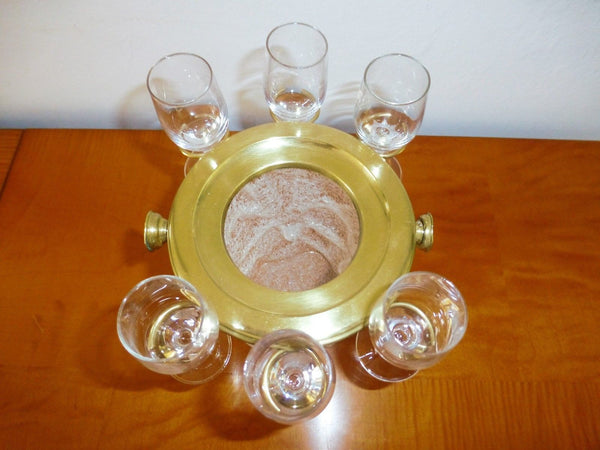 Exquisite Art Deco Set Of 6 Cordial Glasses & Ice Bucket By Westmoreland - Art Deco Antiques  - 5