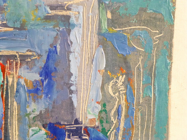 Stunning 1950's Mid-Century Modernist Expressionist Oil Painting - Art Deco Antiques  - 3