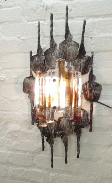 Sensational Brutalist Wall Sconce By Tom Ahlström & Hans Ehrlich - Art Deco Antiques  - 1