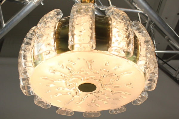 Stunning Mid-Century Modernist Glass Pendant / Chandelier By Doria - Art Deco Antiques  - 8