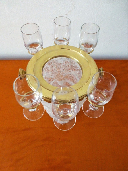 Exquisite Art Deco Set Of 6 Cordial Glasses & Ice Bucket By Westmoreland - Art Deco Antiques  - 6