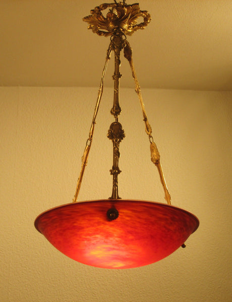 Exceptional 1920's French Art Deco Chandelier Signed By Charles Schneider - Art Deco Antiques  - 3