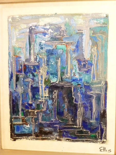 Stunning 1950's Mid-Century Modernist Expressionist Oil Painting - Art Deco Antiques  - 8