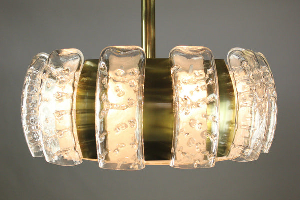 Stunning Mid-Century Modernist Glass Pendant / Chandelier By Doria - Art Deco Antiques  - 6