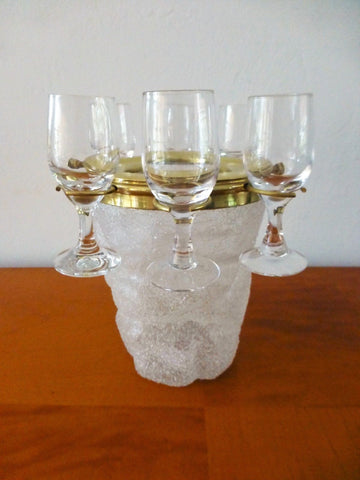 Exquisite Art Deco Set Of 6 Cordial Glasses & Ice Bucket By Westmoreland - Art Deco Antiques  - 1