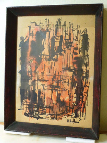 Impressive 1940's Mid-Century Modernist Oil Painting - Art Deco Antiques  - 1