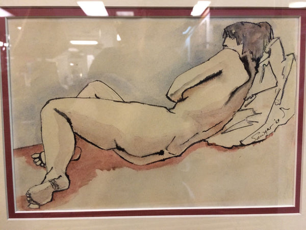 Captivating Mid-Century Modernist Nude Watercolor Painting By Sawyer - Art Deco Antiques  - 2