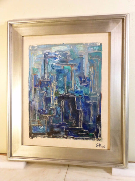 Stunning 1950's Mid-Century Modernist Expressionist Oil Painting - Art Deco Antiques  - 7