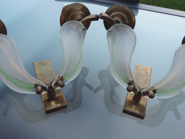 Stunning Pair of 1930's Art Deco Glass Sconces By Petitot & Ezan - Art Deco Antiques  - 4