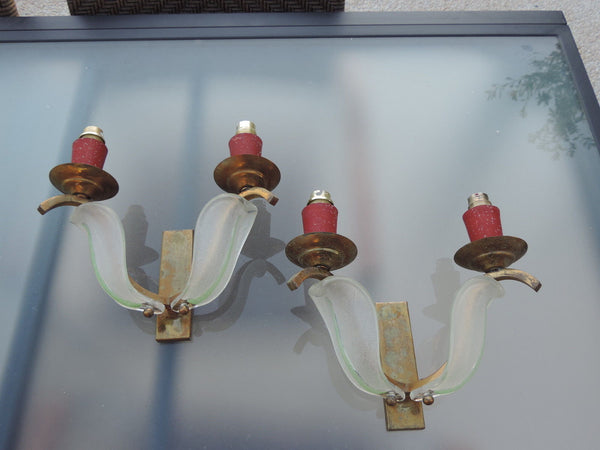 Stunning Pair of 1930's Art Deco Glass Sconces By Petitot & Ezan - Art Deco Antiques  - 1