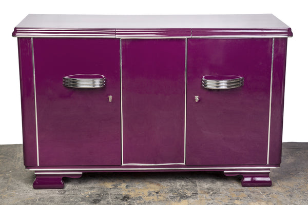 Posh Streamlined Art Deco Sideboard In Plum - Art Deco Antiques  - 1