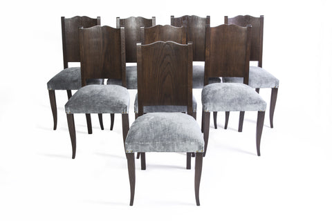 Stunning Set of Eight Art Deco Dining Chairs by Alfred Porteneuve - Art Deco Antiques  - 1
