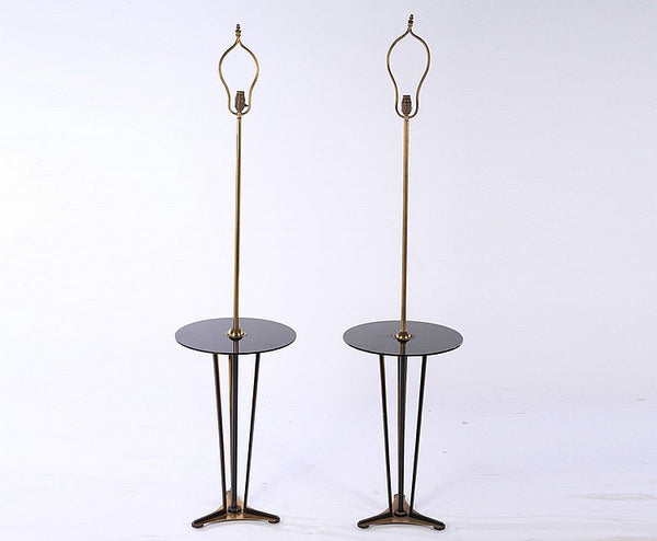 Pair Of Mid-Century Modernist Floor Lamps With Glass Shelves - Art Deco Antiques  - 1