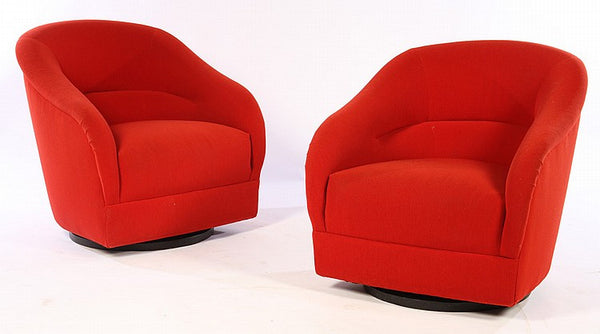 Pair Of Mid-Century Modernist Swivel Chairs In The Manner Of Milo Baughman - Art Deco Antiques  - 1