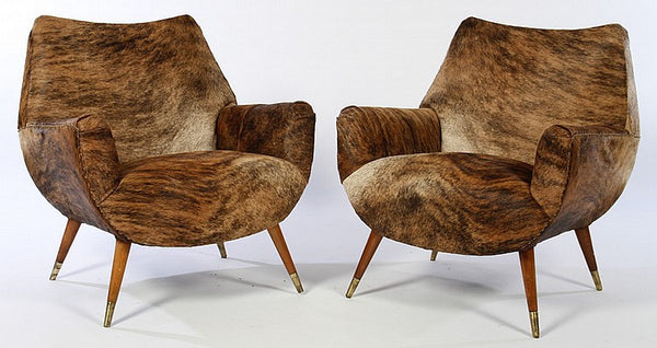 Sophisticated Pair Of Mid-Century Modernist Cowhide Chairs - Art Deco Antiques  - 1